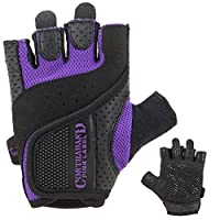 Contraband Pink Label 5137 Womens Padded Weight Lifting Gloves w/Grip-Lock Padding (Pair) - Machine Washable Fingerless Workout Gloves Designed Specifically for Women (Purple, Large)