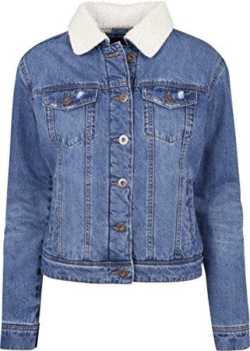 Urban Classics Ladies Sherpa Denim Jacket, klassische Trucker Jeansjacke mit Fell für Frauen,  für Herbst und Winter, warm gefüttert - blue washed, Größe XL