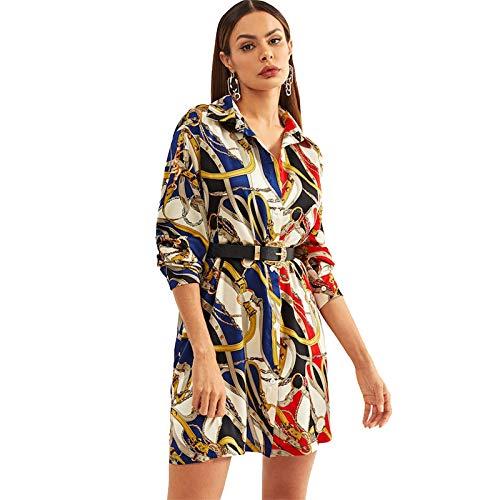 JJHR Kleider Chain Print Button Workwear Hemdkleid Damen Kleidung Mode Elegantes Kurzes Kleid Büro Damenkleider -