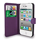TypeandColor® Purple Leather Flip Wallet Slim Case Cover Pouch With Card Holder For Apple iPhone SE 5 / 5S and Screen Protector With Polishing Cloth And Stylus Pen (Purple)