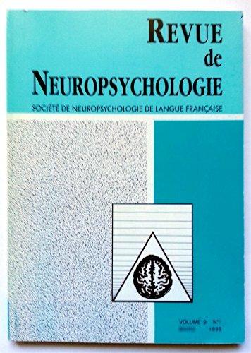 Revue de Neuropsychologie - Volume 9 - numéro 4 - décembre 1999