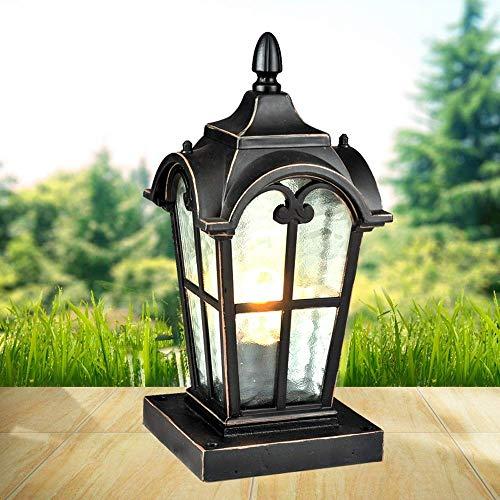 Xungel Europäische Retro Villa Square Schwarz Aluminium Glas Laterne Säule Lampe E27 Metall Regen Poller Licht Terrasse Beleuchtung Terrassenterrasse Garten Landschaft Außen Spalte Lampe Leuchte