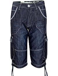 Nouveaux hommes Designer hachuré Marque Jeans Cargo Combat Style Denim Shorts Bottoms