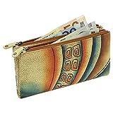 Art & Craft Damen Business Geldbörse Geldbeutel Portemonnaie Leder 18,5cm handbemalt