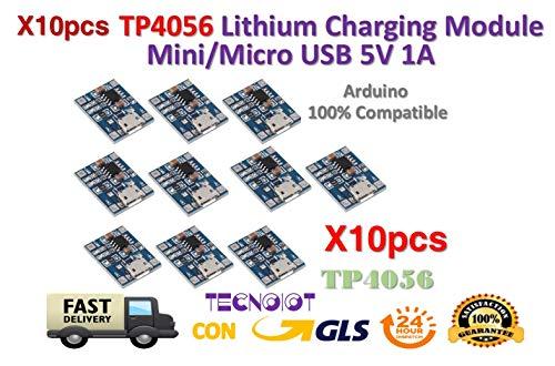 TECNOIOT 10pcs TP4056 1A 5V Lithium Battery Charging Module Mini/Micro USB Interface -