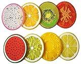 Cosanter 8er Pack Silikon Frucht Tischsets Untersetzer, Set von 8 Kiwi, Orange, Zitrone, Limette, Drachenfrucht, Wassermelone, Tomate, und Ananas(Zufällige Farbe)