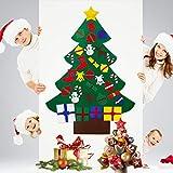 Filz Weihnachtsbaum DIY Wand hängend Weihnachtsschmuck 3.5ft mit 32 pcs abnehmbare Filz Klettverschluss Weihnachtsdekoration Kit für Kinder Deko Weihnachten Weihnachtsspiel (Filz Weihnachtsbaum)