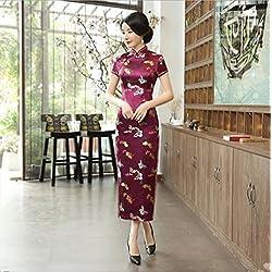 TTDRESS Women's Long Dress Vestido de Boda Chino Largo de Las Mujeres Cheongsam Qipao Retro Flor de impresión Largo, Wine, 2XL