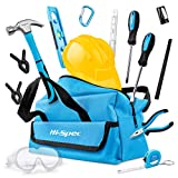Hi-Spec 15 Piece Children\'s Tool Kit with Real Small-Sized Hand Tools, Safety Goggles and Play-Work Hat All in a Convenient Storage Bag