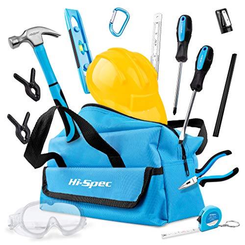 Hi-Spec 18-teiliges Kinder-Werkzeugset mit echten Handwerkzeugen, einschließlich Sicherheitbrille und Spielzeughelm - Alles in einer praktischen Aufbewahrungstasche