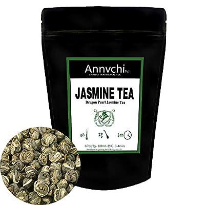 Perles de Jasmin Thé Vert (28 Tasses),Thé Vert Chinois au Jasmin, Thé Vert de Jasmin, Dragon Perle Jasmine Chine, Feuille de Thé En Vrac Faible Teneur en Caféine, 56.6 gramme