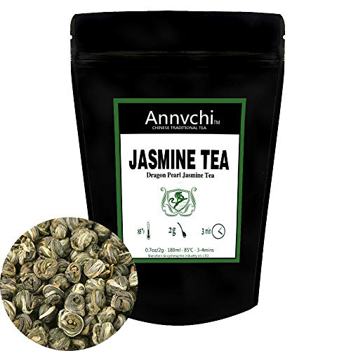 Jasmine Green Tea Loose (75 Cup) - Best Tea Jasmine Pearls from China - Chinese White Jasmine Tea Pearls Loose Herbal Teas - Jasmine Pearl Green Tea Caffeine Level Low - 5.3 Ounce (150 Gram)