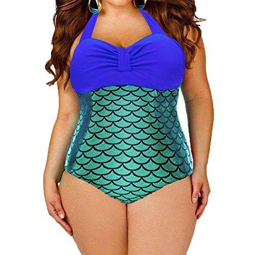 einteiligen Badeanzug _ XL XL sexy Mermaid einteiligen Badeanzug Blau