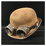 Meipa-Zeit Retro Lolita Frauen Männer Retro Glas Hut Pilot Hut Steampunk Melone Brille Topper Top Cosplay Hüte Cosplay Cos Hut (Farbe : Gold BLG, Größe : 57-58 cm)