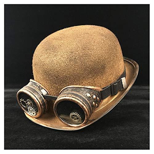 Meipa-Zeit Retro Lolita Frauen Männer Retro Glas Hut Pilot Hut Steampunk Melone Brille Topper Top Cosplay Hüte Cosplay Cos Hut (Farbe : Gold BLG, Größe : 57-58 cm) (Hut Pilot Steampunk)