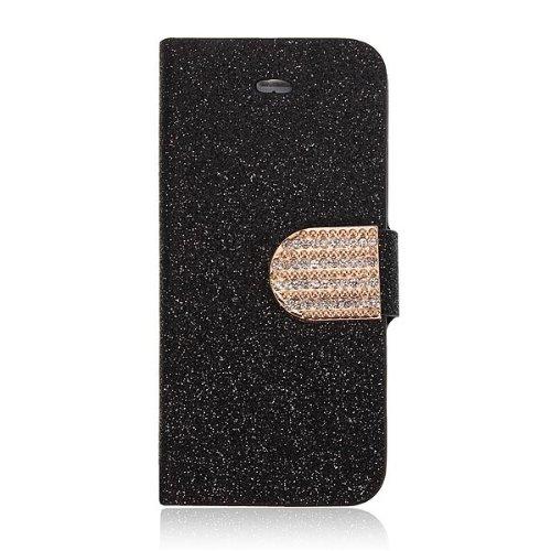 Bling magnŽtique flip en cuir PU Support Wallet Case pour iPhone 5 5S argent