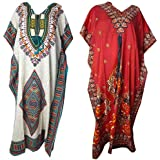 Ukal Combo Set (Pack of 2) Western Gown Kimono Cover up Ladies Kaftan Nighty Maxi Dress V-Neck for Women (Free Size)