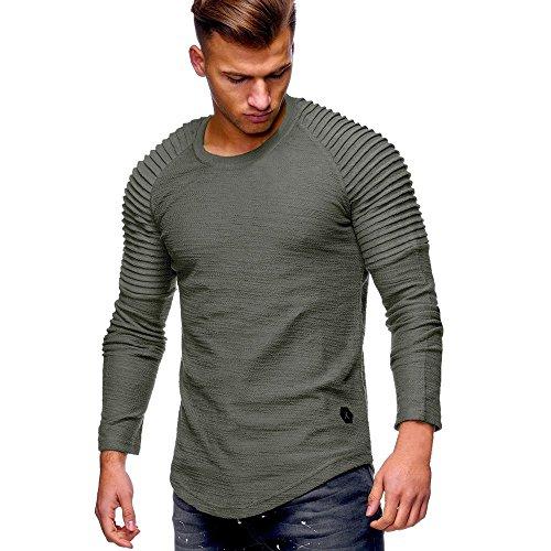 VECDY Herren Bluse,Räumungsverkauf- Herren Männer Casual Tops Langarm T-Shirt Solid Color Falten Rundhals Bluse Mode lässig Top mit Kapuze Pullover(Armeegrün,50)