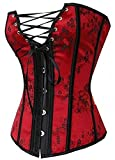 Womens Waist Cincher Lace up Boned Basque Corset Shapewear Red Plus size