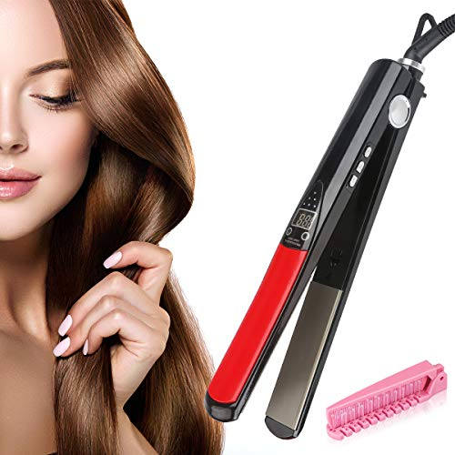 Aodis Professional Infrared Hair Straighteners THZY Digital Anti Static Ceramic Flat Iron 1 Inch Temperature Control Negative Ion Automatic Protection Travel Case