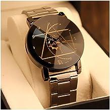Relojes Pulsera, Ularma Hombres Mujeres Reloj De Acero Inoxidable Reloj De Pulsera De Cuarzo Hombre Analógico (Black)