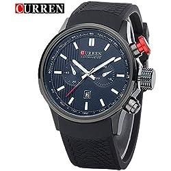 CURREN Business Men's Calendar Waterproof Genuine Black Rubber Strap Wrist Watch 8175G