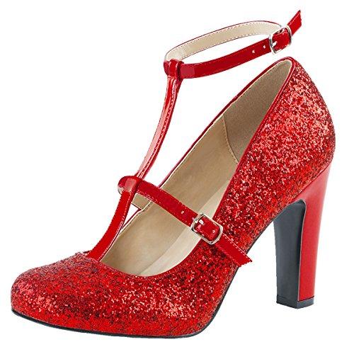 Damen Pumps Glitter Rot Pumps rot Glitter Damen pHPdqFqA