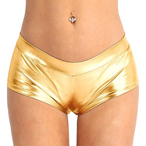 CHICTRY Leder Shorts Wetlook Strings Erotik Dessous Unterwäsche Glänzende Damen Hotpants Ouvert-Slip Gold Medium