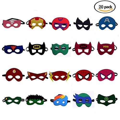 BUWANT Superhelden Masken Filz Maske Kostüme für Kinder Superhero Cosplay Party Augenmasken 20 Stück - latexfrei, perfekt für Kinder ab 3 Jahren