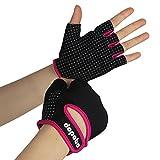 Dopobo Damen Gel Handschuhe Training Frauen Gym Fitness Handschuhe RadHandschuhe(Schwarz und Rosa/Größe-Mittel)