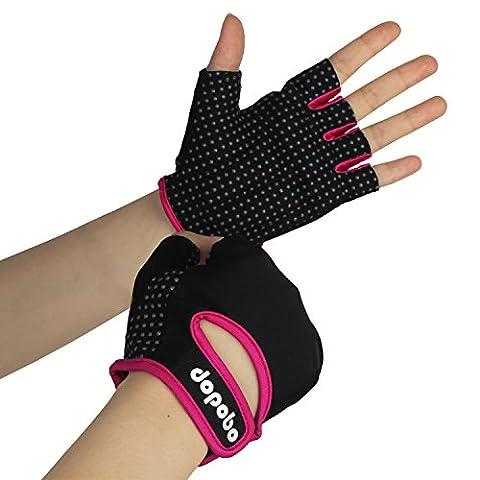 Dopobo Mesdamme équipements gants de fitness de sport demi-doigt pour l'entraînement /randonnée/vélo/montagner (S, rose)
