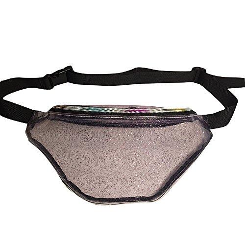 Vertvie Unisex Gürteltasche Laser Wasserdichte Bauchtasche Transparente Verstellbarer Hüfttasche Sport Tasche Joggen Fahrradfahren Reise Laufen Rosa