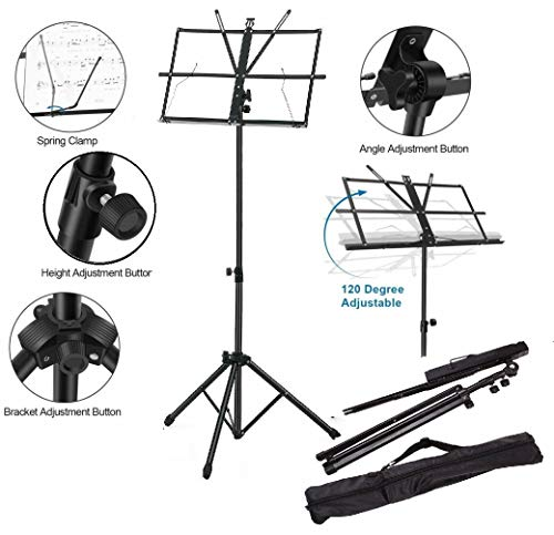 Techtest Notation Stand Lyrics Foldable Violin Music Sheet Holder Adjustable Orchestra Conductor Music Stand, with Carrying Bag, Light Weight for Travel