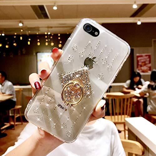 Ukayfe Kompatibel mit iPhone 7/8 Bling Transparent Ultradünn Stoßfest Anti-Scratch Bumper Kristall Strass Diamant mit Handy-Ring Ständer Weiche Silikon TPU Durchsichtig Glitzer Back Hülle-Windspiele (Iphone-ring-fall)