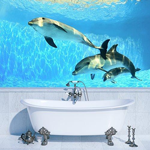 PVC Fototapete - ECO Wandbild Selbstklebende Tapete - 3D Vinyl Wandsticker - Delfine unter Wasser SW115(100x70CM) - 100 Applique