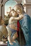 Leinwandbild 120 x 180 cm: Jungfrau und Kind mit einem Engel von Sandro Botticelli / Bridgeman Images - fertiges Wandbild, Bild auf Keilrahmen, Fertigbild auf echter Leinwand, Leinwanddruck