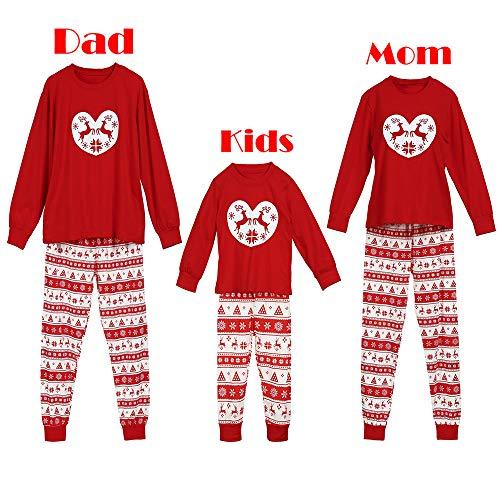 TianWlio Baby Weihnachten Pyjamas Baby Weihnachten Outfit Baby Mädchen Mama und Papa Mama Infant Baby Jungen Mädchen Santa Gestreiften Strampler Familie Pyjamas Weihnachten Outfits Set