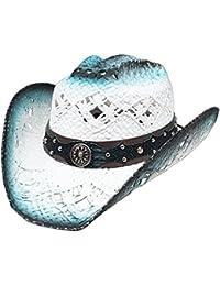 Modestone Straw Sombrero Vaquero Breezer Crocodile Skin Pattern Hatband  White Blue e9f9d8df530