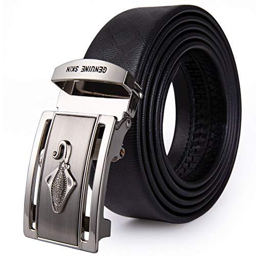 Nsydg cintura cinture uomo con anguilla fibbia in pelle di vacchetta cinturino in vera pelle con fibbia automatica cinture per uomo 110-160 cm