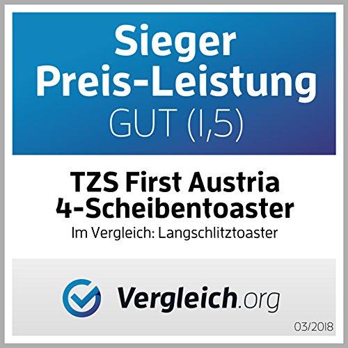 TZS First Austria – gebürsteter Edelstahl 4 Scheiben Toaster 1500W - 7