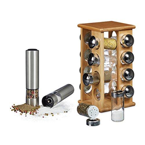 3 teiliges Küchenset für Gewürze, Gewürsständer drehbar, mit 16 Gewürzgläsern, 2 Gewürzmühlen Pfeffermühlen