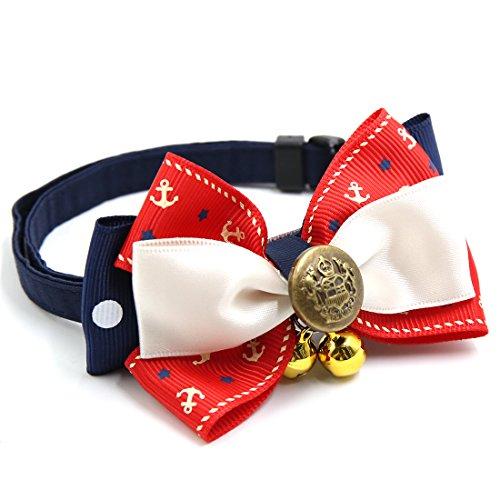 sourcingmap® Abzeichen Dekor einstellbar Katze Hunde Halsband Schleife & Glocke 9