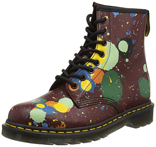 Dr. Martens 1460 Smooth, Stivaletti Unisex – Adulto Nero (Black Splatter Smooth)