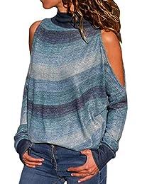 27e2ca9fd SHOBDW Mujeres Moda Primavera Otoño Frío Hombro Tallas Grandes Camisetas de  Manga Larga Cuello Alto Suelta
