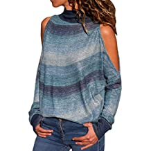SHOBDW Mujeres Moda Primavera Otoño Frío Hombro Tallas Grandes Camisetas de Manga Larga Cuello Alto Suelta
