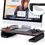Klearlook Foldable Monitor Stand Built in Storage Drawer Tablet&Phone Stand Holder, Width Adjustable Desktop Monitor Riser,Anti-Slip Monitor Mount for Computer/Printer/Laptops/TV - Black Wood Texture