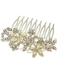 Acosta - tono plateado con adornada con brillantes y perlas - Classic diseño de flores de cuentas pelo Slide - Accessory - para personas con movilidad reducida en caja de regalo Suite