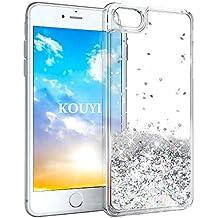 KOUYI iPhone 8/7 Hülle Glitzer, Luxus Fließen Flüssig Glitzer 3D Bling Dynamisch Silikon Weich Flexible TPU Kreativ Shiny Glitter Cover Beschützer für Apple iPhone 8 / iPhone 7 (Silber)