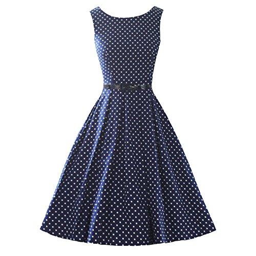 LUOUSE Sommer Damen Ohne Arm Kleid Dress Vintage kleid Junger abendkleid,DotNavyBlue,L