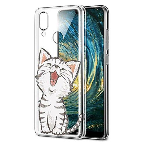 Funda Huawei P20 Lite, Eouine Cárcasa Silicona 3d Transparente con Dibujos Diseño Suave Gel TPU [Antigolpes] de Protector Bumper Case Cover Fundas para Movil Huawei P20 Lite 2018 - 5.84 Puldagas (Gato sonriente)